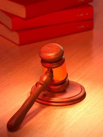 zeugnis: Hammer und Recht B�cher auf einem Tisch. Digitale Illustration.  Lizenzfreie Bilder