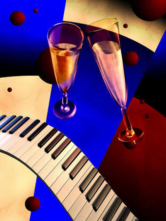 Piano keyboards, glasses and art decò background. Digital illustration.