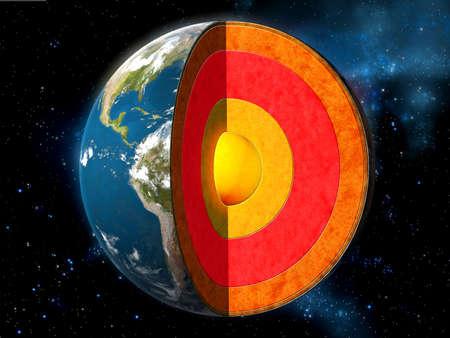 noyau: Terre section transversale montrant sa structure interne. Digital illustration.