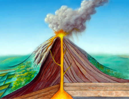 illustration of a volcano erupting: Volcano structure. Original hand painted illustration, digitally enhanced. Stock Photo