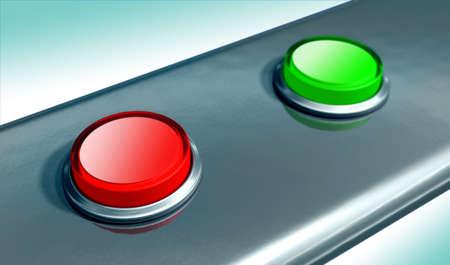 powerbutton: El rojo y el verde botones en una placa de metal. Ilustraci�n digital.