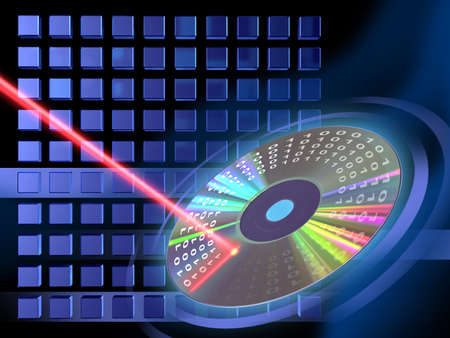 decoding: Laser beam writing on a Cd or Dvd support. Digital illustration.