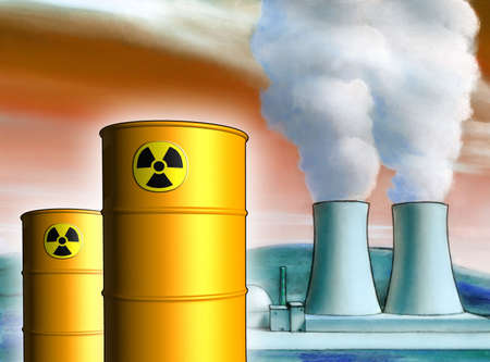 Radioactive waste from a nuclear power plant. Mixed media illustration. Stock Illustration - 3135433