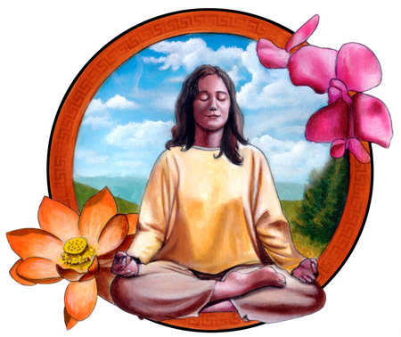 Young woman meditating. Original hand painted illustration. Stock Illustration - 3135439