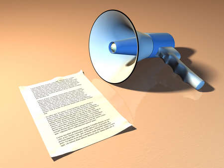Megaphone and announcement on a warm colored background. Digital illustration Stock Illustration - 3129189