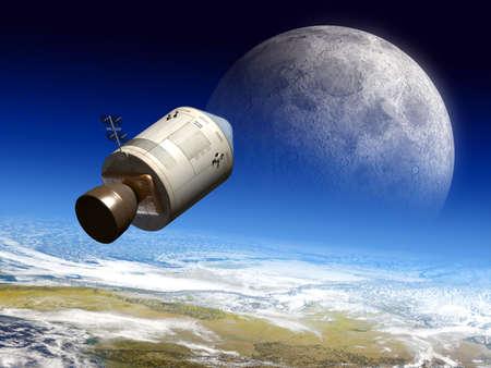 planetarnych: Apollo modułu loty do księżyca. Digital ilustracji.