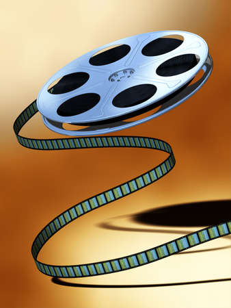 unwinding: Unwinding film reel over a warm background. Digital illustration.