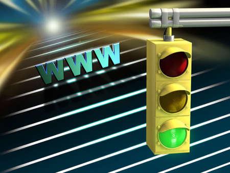 proceed: Traffic light over a conceptual internet highway. Digital illustration.