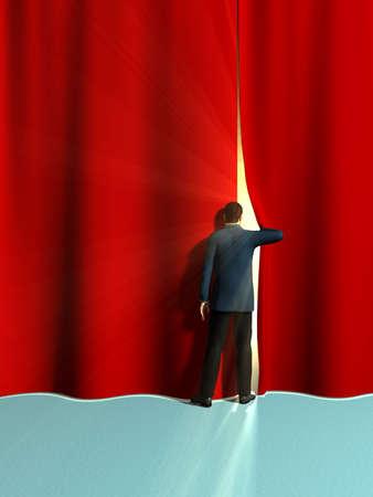 sipario chiuso: Uomo d'affari di apertura di alcune grandi tende rosse. Illustrazione digitale.