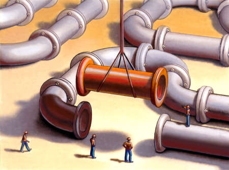 Team working on a pipes system. Mixed media illustration. Stock Illustration - 3135438