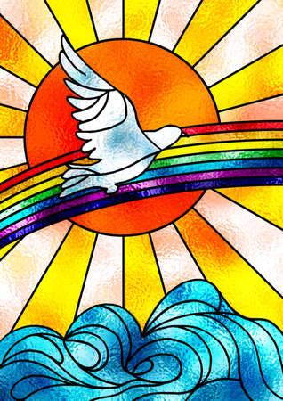 simbolos religiosos: Vidrieras composici�n que muestra una paloma blanca volando sobre un arco iris y un brillante sol. Ilustraci�n digital.