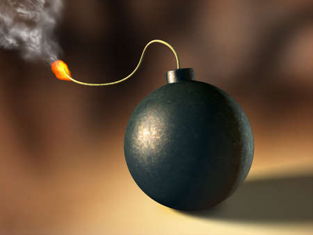 detonate: Bomb about to explode. Digital illustration. Stock Photo