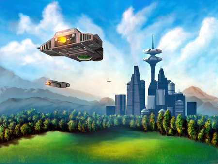 modernity: Space ships travelling to a futuristic city. Mixed media illustration.