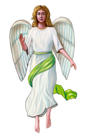 Angel in a white and green robe. Digital illustration. Stock Photo