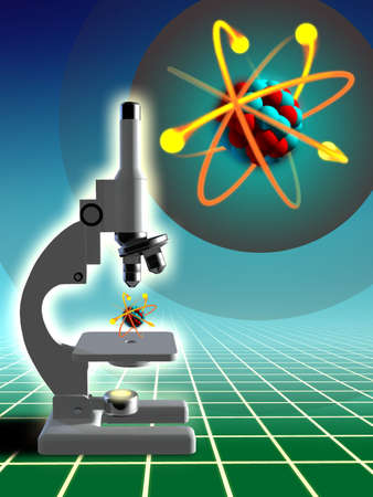 Atom structure examined under a microscope. Digital illustration. Stock Illustration - 3276380