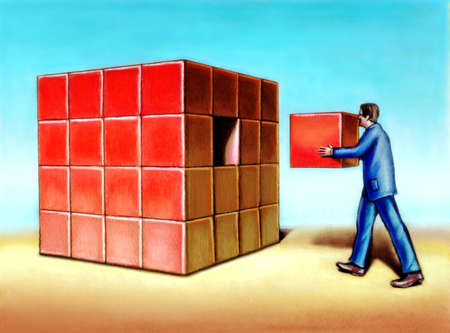 Businessman inserting last missing piece to complete a cube. Original hand painted illustration. illustration