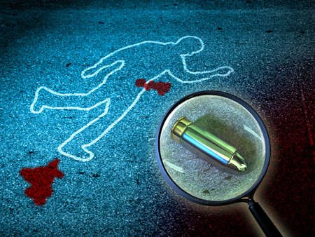 scene of a crime: Crime scene investigations. Digital illustration. Stock Photo