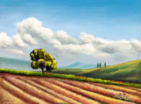 Farmland in Tuscany, Italy. Original hand painted illustration, digitally enhanced.