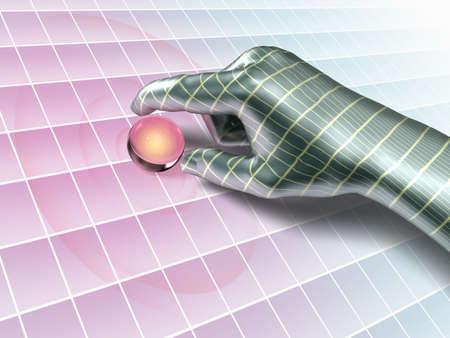 Cybernetic hand picking up a data sphere. Digital illustration. Stock Illustration - 3276381