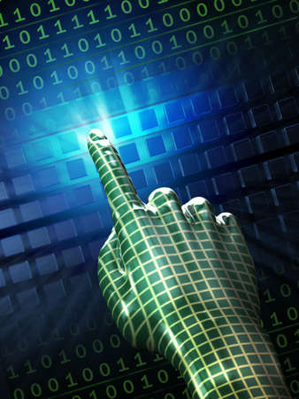 Cybernetic hand interacting with some digital dimension. Digital illustration. Reklamní fotografie