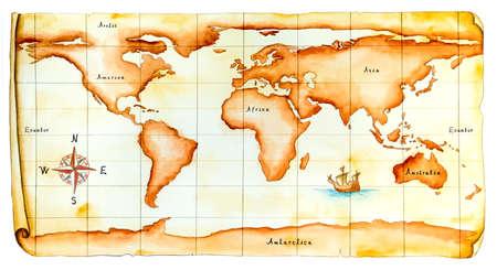 World map, antique style. Original hand painted illustration. Stock Illustration - 3276388