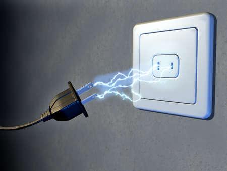 Electrical plug and outlet generating electricity sparks. Digital illustration. Reklamní fotografie