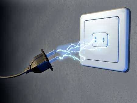 volts: Electrical plug and outlet generating electricity sparks. Digital illustration. Stock Photo
