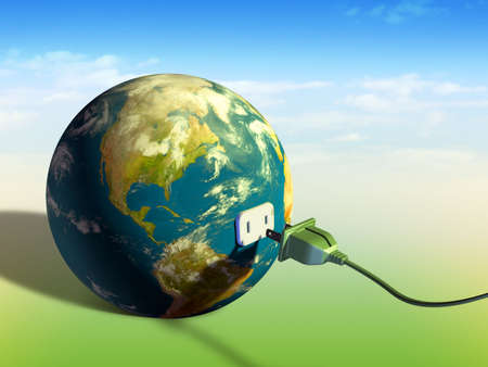 plugging: Electrical cord plugging into planet Earth. Digital illustration. Stock Photo