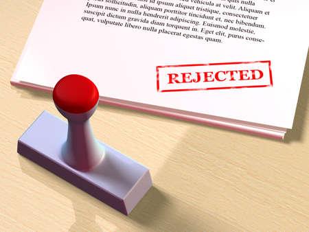 Rejected stamp on paper documents. Digital illustration
