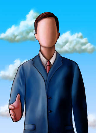unclear: Faceless businessman offering to shake hand. Digital illustration. Stock Photo