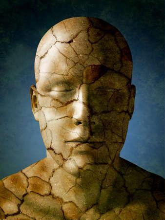 Humand head with a dry earth skin. Digital illustration. Reklamní fotografie