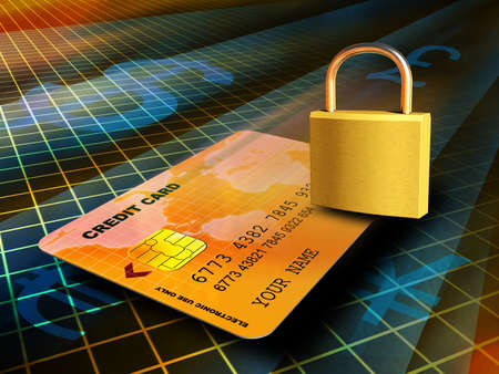 Credit card travelling through a secure connection. Digital illustration Stock Illustration - 3385523