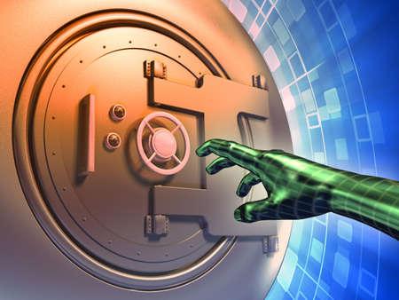 standard steel: Vault door forcing to access protected data. Digital illustration.