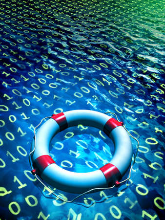 restoring: Lifesaver floating in a binary data sea. Digital illustration Stock Photo