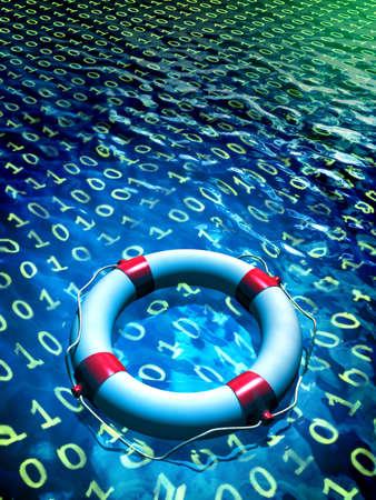 Salvavidas flotando en un mar de datos binarios. Ilustración digital