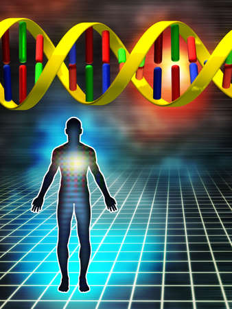 genetica: Dna come bloccare la costruzione di essere umano. Illustrazione digitale.