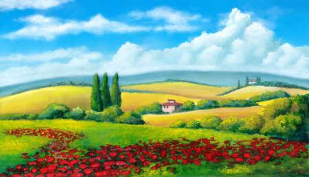 Farmland in Tuscany, Italy. Original mixed media illustration. Фото со стока