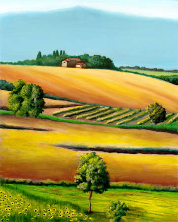 cypress tree: Farmland in Tuscany, Italy. Original hand painted illustration.