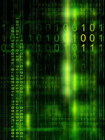 Binary code streams on high technology background. Digital illustration