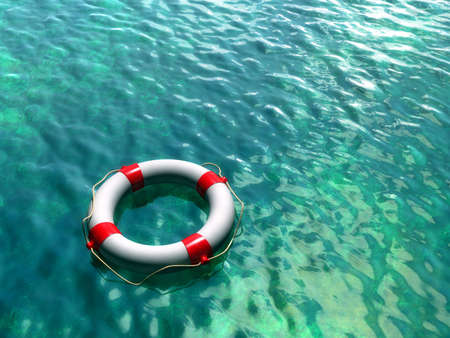 lifebuoy: Lifesaver on clear blue and green water surface. Digital illustration.