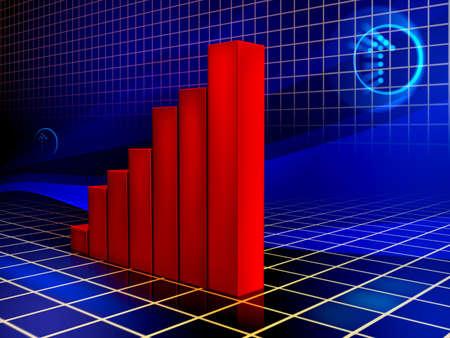 Bar graph shows improving results. Digital illustration. Stock Illustration - 3385517