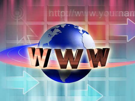 World wide web symbol rotating around an earth globe. Digital illustration. Stock Illustration - 3385516
