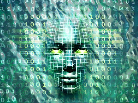 Human head emerging from a water and binary code surface. Digital illustration. Stock Illustration - 3385524
