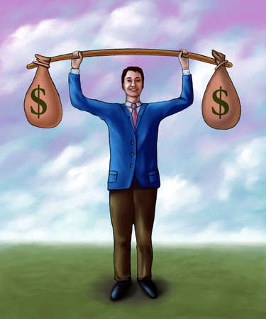 Businessman lifting two money bags. Mixed media illustration.