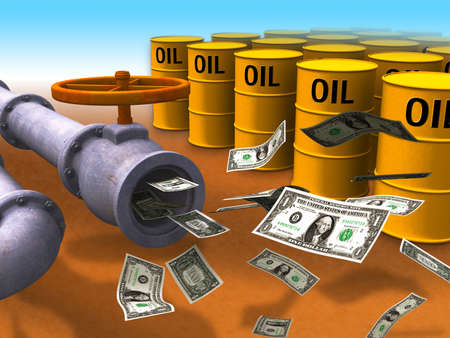 oil money: Dollar stream coming out of some oil pipes. Digital illustration. Stock Photo