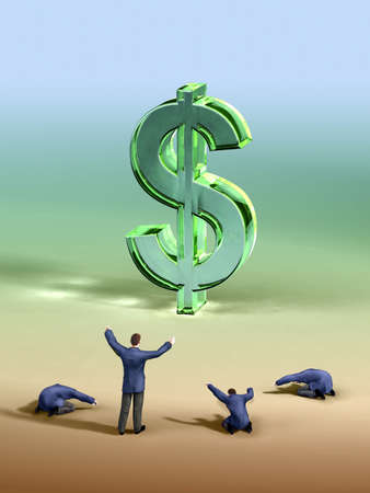 imperialism: Group of businessmen worshipping a large dollar symbol. Digital illustration.
