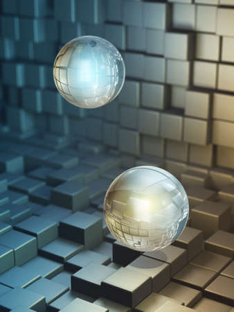 decode: Data spheres floating in a high technology space. Digital illustration.