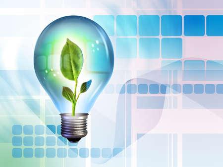 Growing idea in a light bulb. Digital illustration. Stock Illustration - 3597959