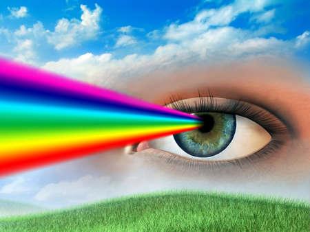prisma: Arco iris saliendo de una mujer de los ojos. Ilustraci�n digital.