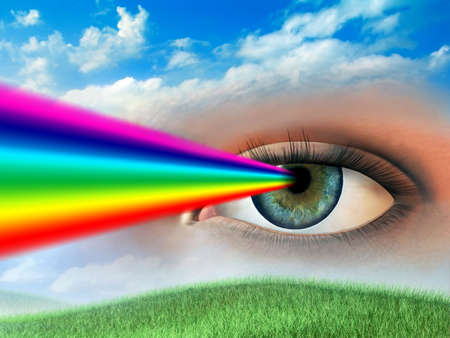 irises: Rainbow coming out of a womans eye. Digital illustration. Stock Photo